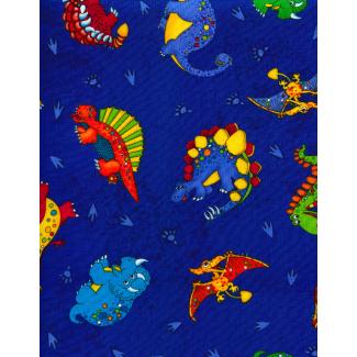 Cotton woven Dinos on blue Timeless Treasure (per 10cm)