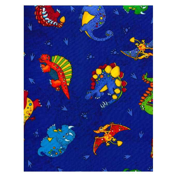 Cotton woven Dinos on blue Timeless Treasure (per 10cm)
