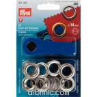 Eyelets 14mm Silver with tool (x10)