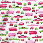 PUL poly print Retro cars Pink width 140cm (per 10cm)