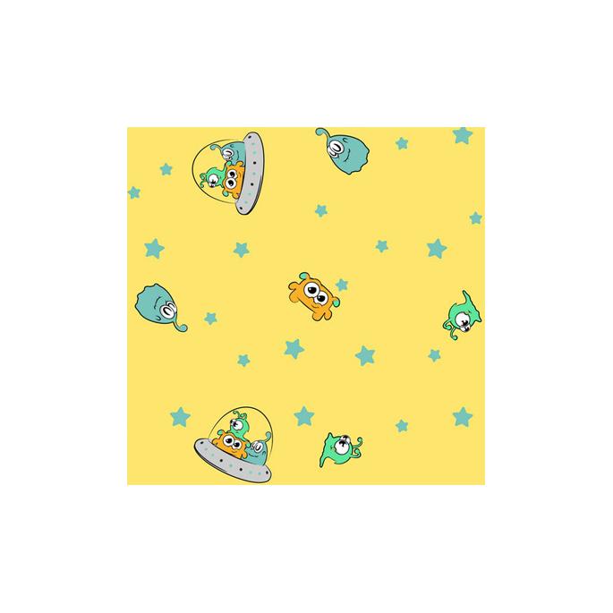 PUL poly imprimé Extraterrestres jaune laize 140cm (par 10cm)