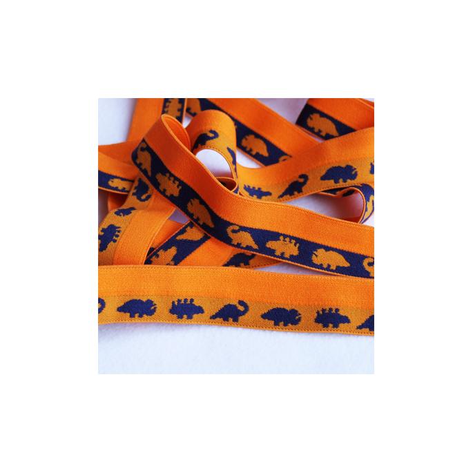Biais élastique Motif 2.5cm Dinos Bleus sur Orange (1m)