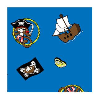 PUL poly print Blue pirates width 140cm (par 10cm)